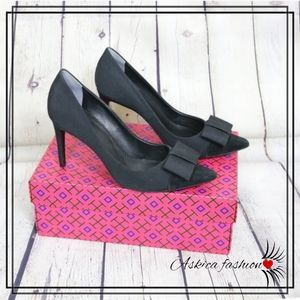 Tory Burch Black Aria Grosgrain Bow Heels Pumps